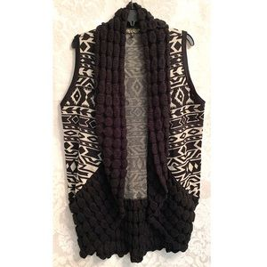 Absolutely Famous | Aztec Print Open Sweater Vest